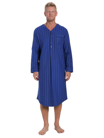 Mens 100% Cotton Flannel Nightshirt - Stripes Tonal Blue