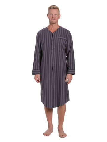 Mens 100% Cotton Flannel Nightshirt - Stripes Black/Grey
