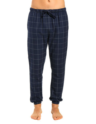 Mens 100% Cotton Flannel Jogger Lounge Pants - Windowpane Checks - Navy