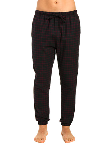Mens 100% Cotton Flannel Jogger Lounge Pants - Checks - Black-Fig