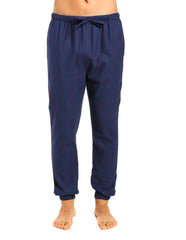 Mens 100% Cotton Flannel Jogger Lounge Pants - Checks - Dark Blue