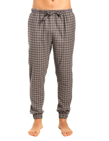 Mens 100% Cotton Flannel Jogger Lounge Pants - Checks - Charcoal Black