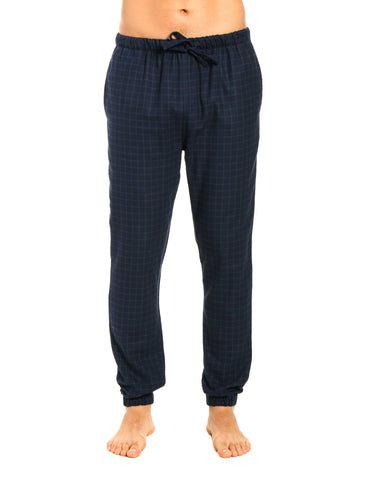 Mens 100% Cotton Flannel Jogger Lounge Pants - Windowpane Checks - Navy Green