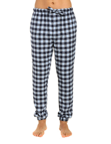 Mens 100% Cotton Flannel Jogger Lounge Pants - Gingham Checks - Navy Blue