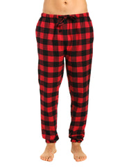 Mens 100% Cotton Flannel Jogger Lounge Pants - Gingham Checks - Black-Red