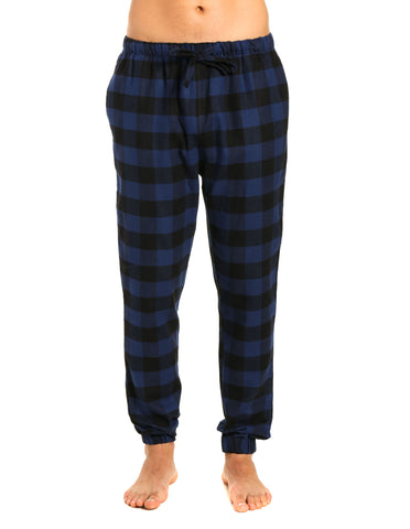 Mens 100% Cotton Flannel Jogger Lounge Pants - Gingham Checks - Black-Blue