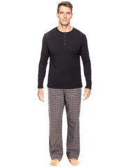 Mens Premium 100% Cotton Flannel Lounge Set - Checks - Charcoal Black