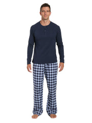Mens Premium 100% Cotton Flannel Lounge Set - Gingham Checks - Navy Blue