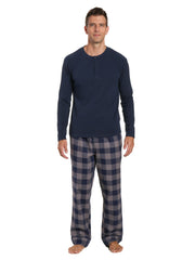 Mens Premium 100% Cotton Flannel Lounge Set - Gingham Checks - Charcoal-Navy