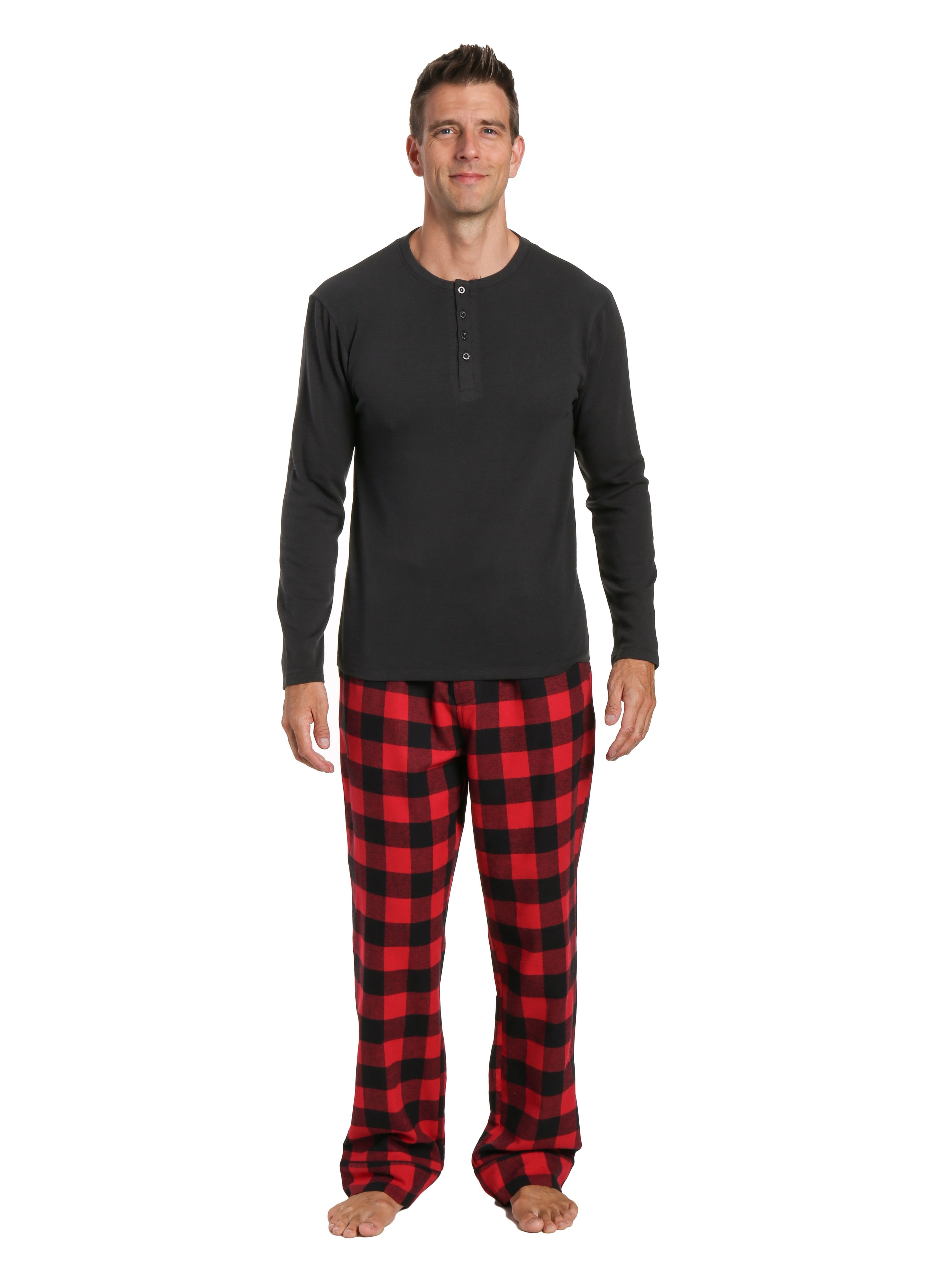Mens Premium 100% Cotton Flannel Lounge Set - Gingham Checks - Black-Red
