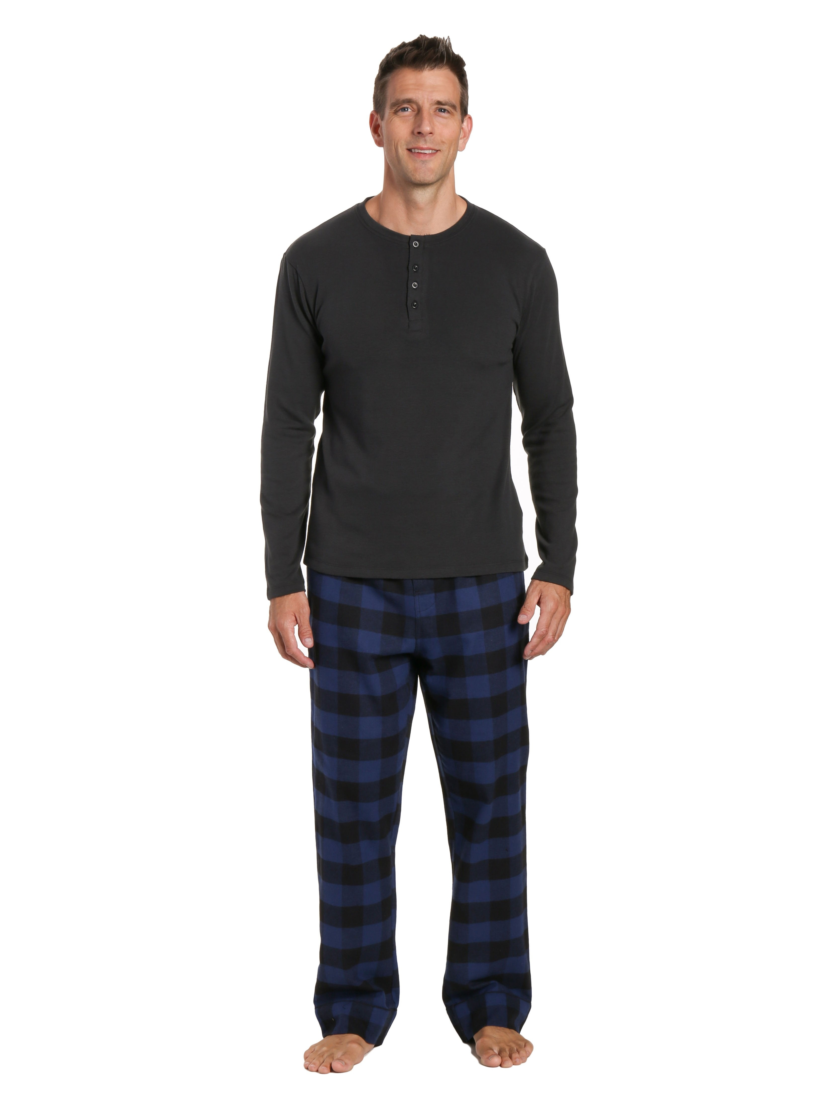 Mens Premium 100% Cotton Flannel Lounge Set - Gingham Checks - Black-Blue