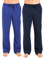 2-Pack Men's 100% Cotton Flannel Lounge Pants (Windowpane Checks Navy-Green)