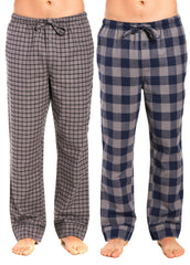 2-Pack Men's 100% Cotton Flannel Lounge Pants (Checks Charcoal-Navy-Black)