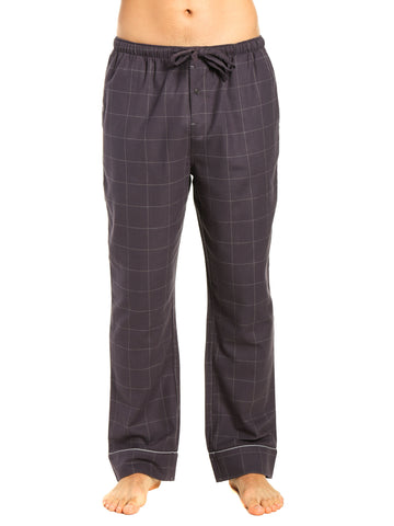 Mens Gingham 100% Cotton Flannel Lounge Pants - Windowpane Checks - Iron