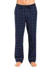 Mens Gingham 100% Cotton Flannel Lounge Pants - Windowpane Checks - Navy