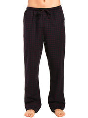Mens Gingham 100% Cotton Flannel Lounge Pants - Checks - Black-Fig