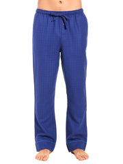 Mens Gingham 100% Cotton Flannel Lounge Pants - Windowpane Checks - Navy Blue