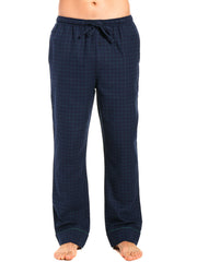 Mens Gingham 100% Cotton Flannel Lounge Pants - Windowpane Checks - Navy Green