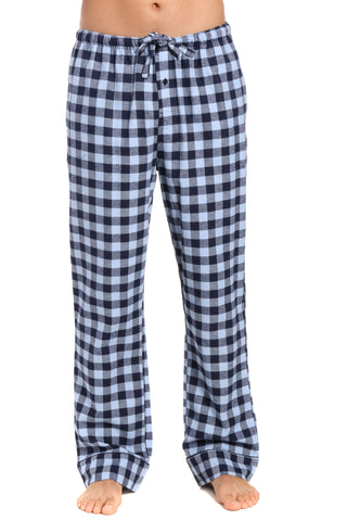 Mens Gingham 100% Cotton Flannel Lounge Pants - Gingham Checks - Navy Blue