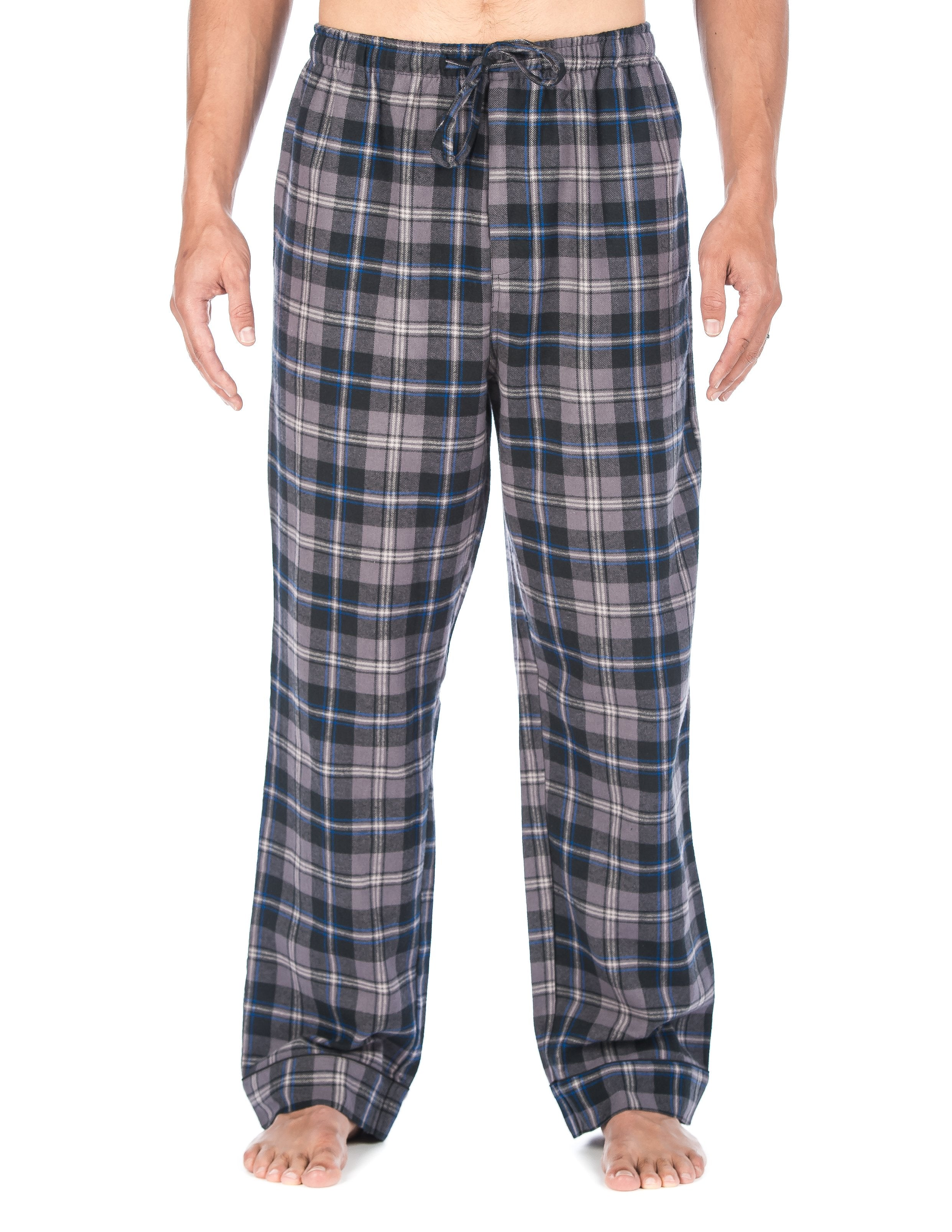 Mens Gingham 100% Cotton Flannel Lounge Pants - Black-Brown Tone