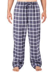 Mens Gingham 100% Cotton Flannel Lounge Pants - Blue/White