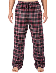 Mens Gingham 100% Cotton Flannel Lounge Pants - Burgundy/Grey