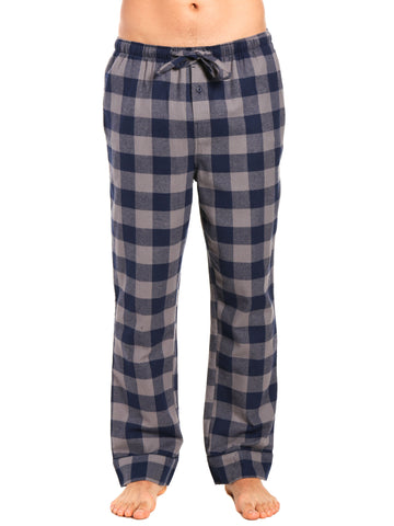 Mens Gingham 100% Cotton Flannel Lounge Pants - Gingham Checks - Charcoal-Navy