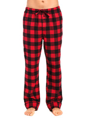 Mens Gingham 100% Cotton Flannel Lounge Pants - Gingham Checks - Black-Red