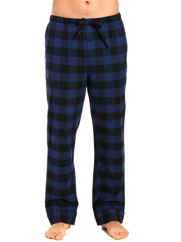 Mens Gingham 100% Cotton Flannel Lounge Pants - Gingham Checks - Black-Blue