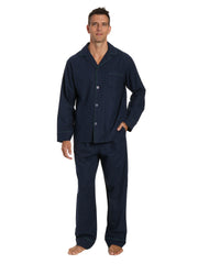 Box Packaged Men's Premium 100% Cotton Flannel Pajama Sleepwear Set - Windowpane Checks - Navy Green