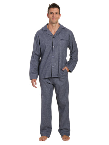 Box Packaged Men's Premium 100% Cotton Flannel Pajama Sleepwear Set - Dark Blue