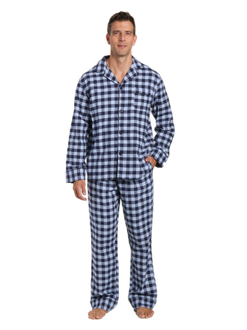 Box Packaged Men's Premium 100% Cotton Flannel Pajama Sleepwear Set - Gingham Checks Navy Blue