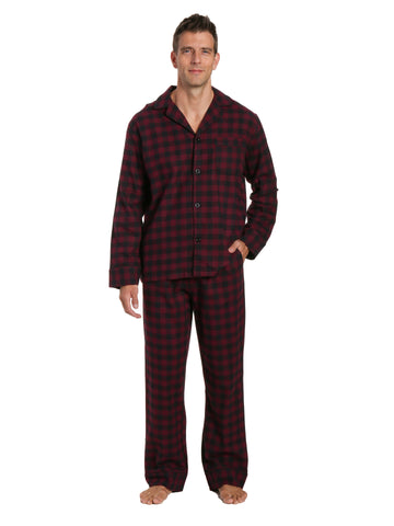 Box Packaged Men's Premium 100% Cotton Flannel Pajama Sleepwear Set - Gingham Checks Fig Black