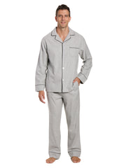 Box Packaged Men's Premium 100% Cotton Flannel Pajama Sleepwear Set - Heather Gray