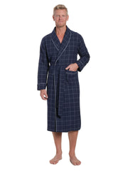 Mens Premium 100% Cotton Flannel Robe - Windowpane Checks - Navy