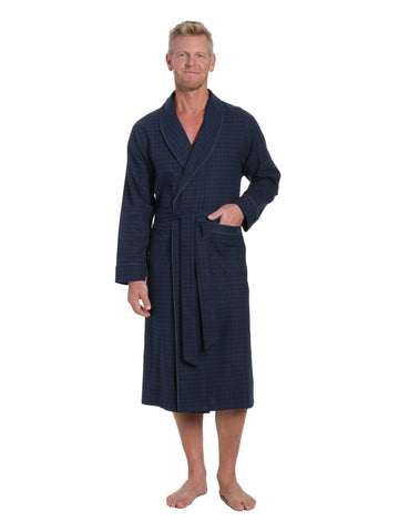 Mens Premium 100% Cotton Flannel Robe - Windowpane Checks - Navy Green