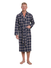 Mens Premium 100% Cotton Flannel Robe - Gingham Checks - Charcoal-Navy