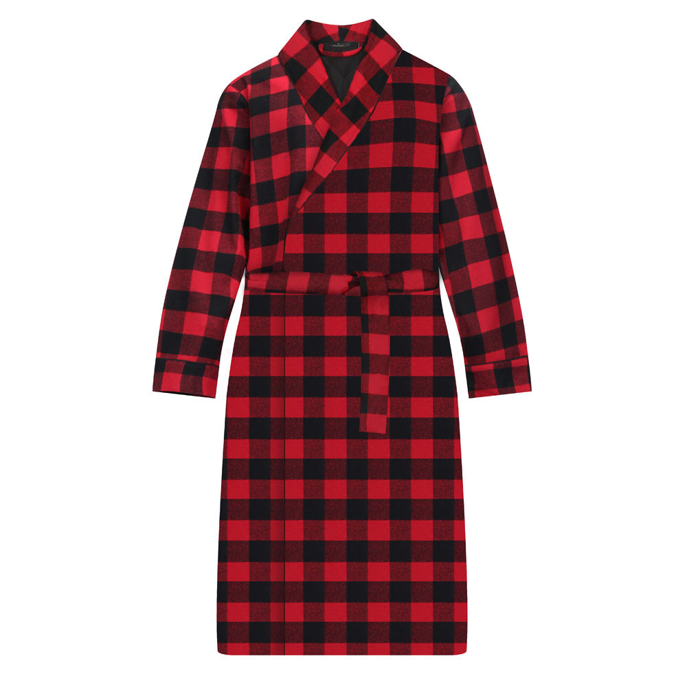Men's Premium Flannel Robe - Plaid Navy/Black
