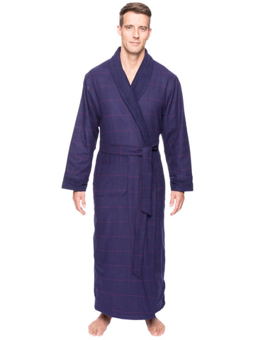 Men's Premium 100% Cotton Flannel Fleece Lined Robe - Windowpane Checks Blue/Red