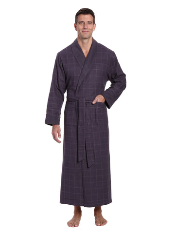 Mens Premium 100% Cotton Flannel Fleece Lined Robe - Windowpane Checks - Iron
