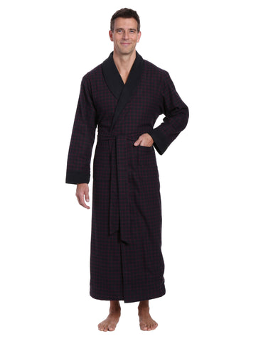 Mens Premium 100% Cotton Flannel Fleece Lined Robe - Checks - Black-Fig