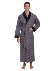 Mens Premium 100% Cotton Flannel Fleece Lined Robe - Checks Charcoal-Black