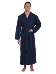 Mens Premium 100% Cotton Flannel Fleece Lined Robe - Windowpane Checks - Navy Green