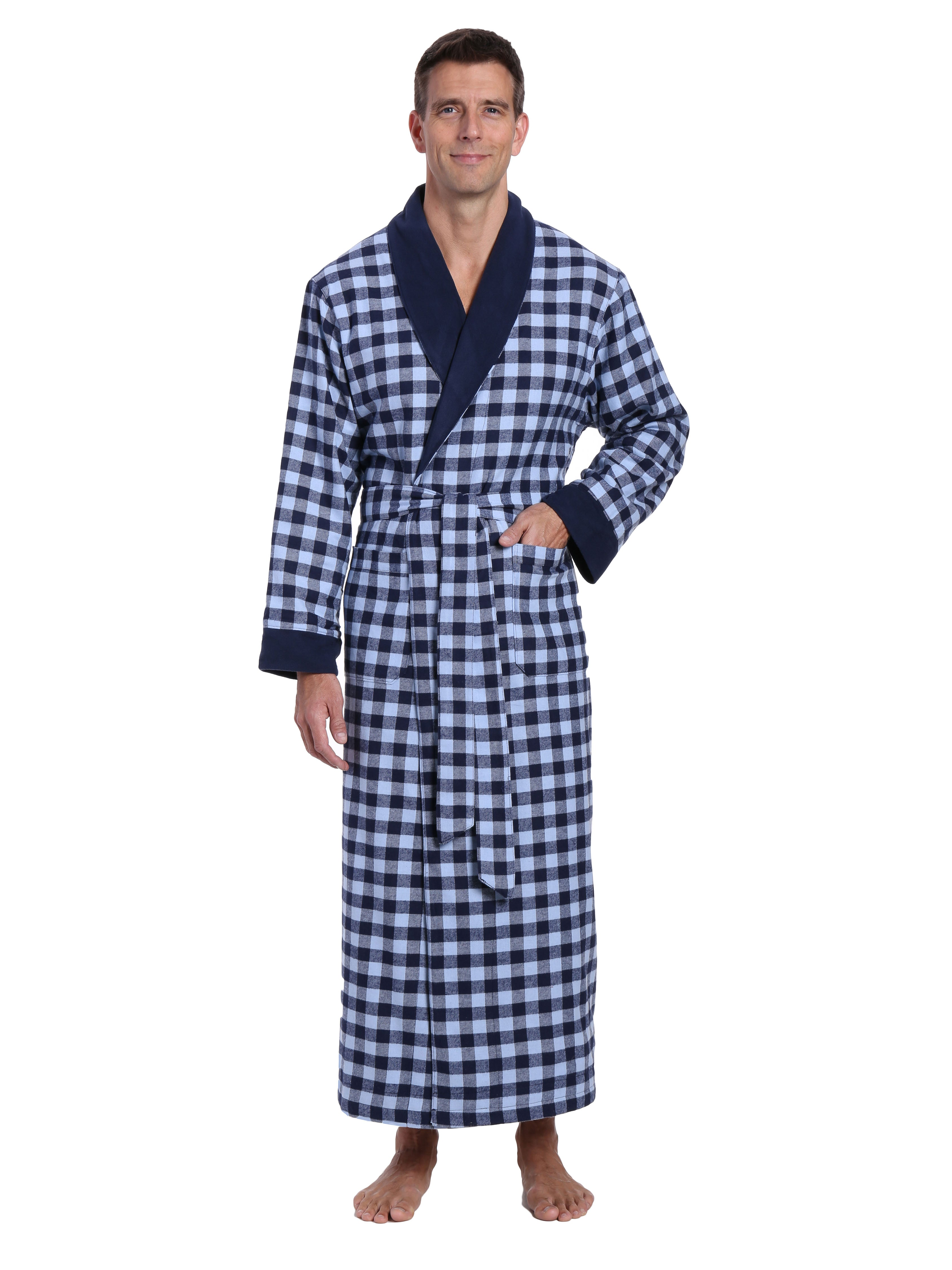 Mens Premium 100% Cotton Flannel Fleece Lined Robe - Gingham Checks - Navy Blue