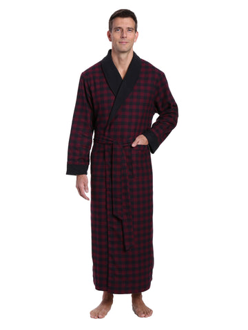 Mens Premium 100% Cotton Flannel Fleece Lined Robe - Gingham Checks - Fig Black