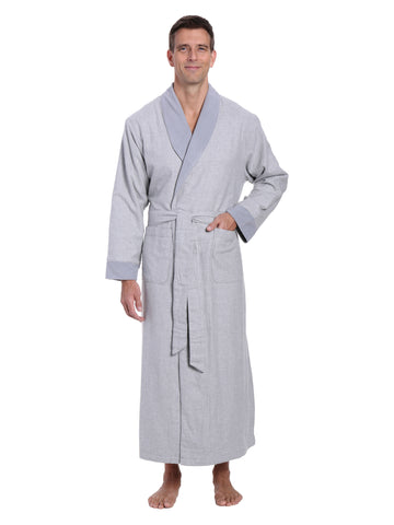 Mens Premium 100% Cotton Flannel Fleece Lined Robe - Heather Gray