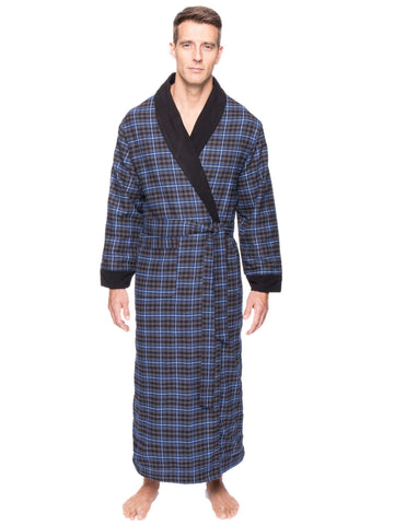 Men's Premium 100% Cotton Flannel Fleece Lined Robe - Plaid Navy/Black