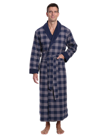 Mens Premium 100% Cotton Flannel Fleece Lined Robe - Gingham Checks - Charcoal-Navy