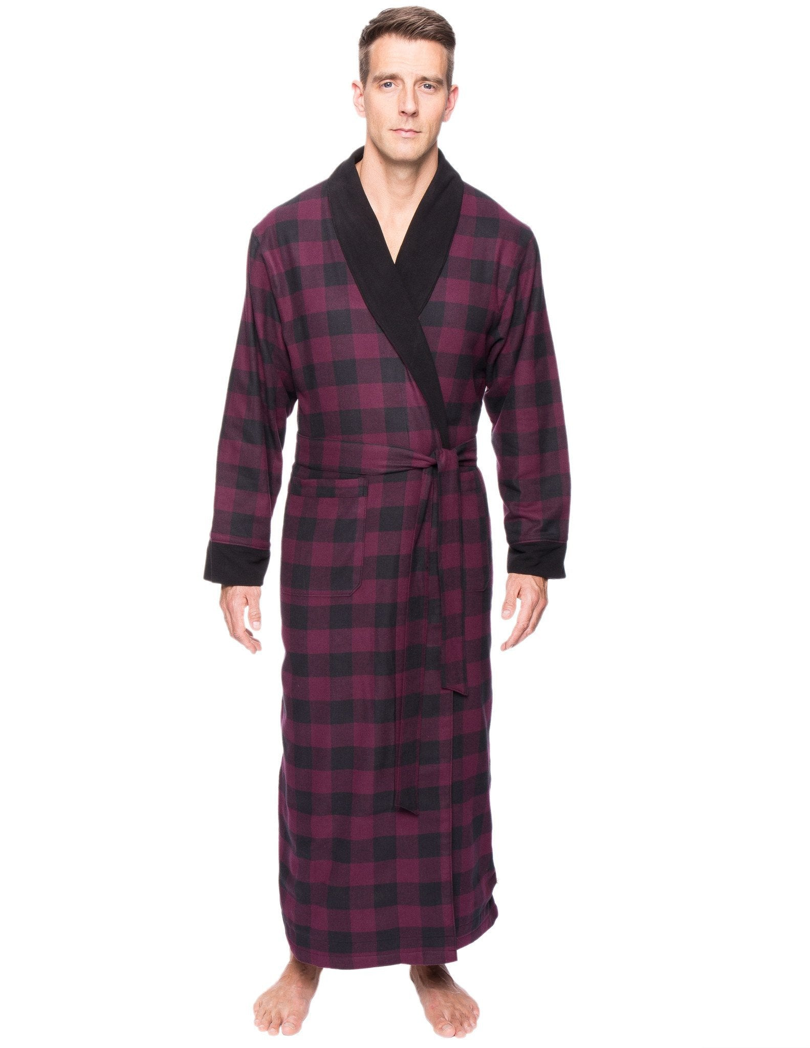 Men's Premium 100% Cotton Flannel Fleece Lined Robe - Gingham Fig/Black