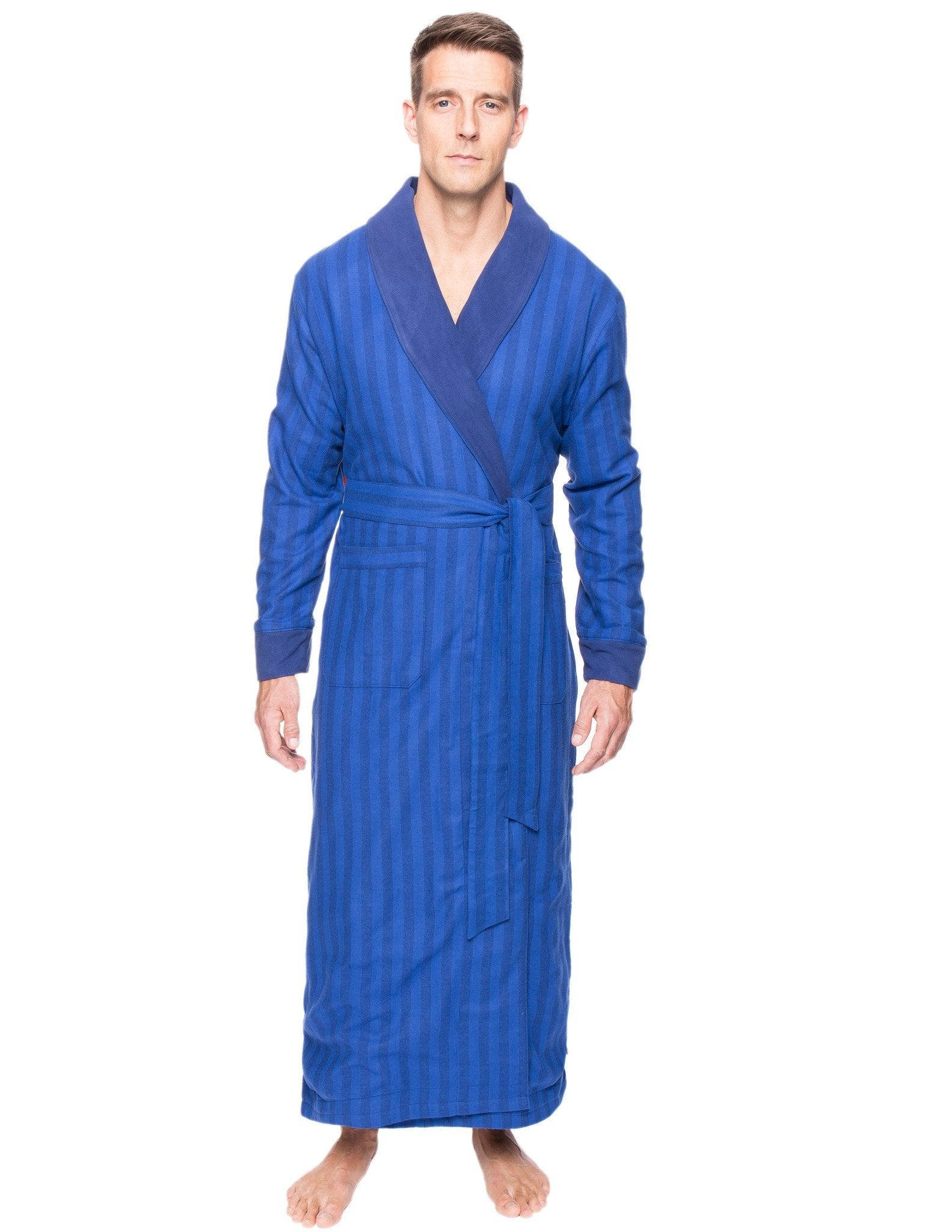 Men's Premium 100% Cotton Flannel Fleece Lined Robe - Stripes Tonal Blue
